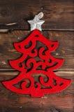 Διακόσμηση Χριστουγέννων στους ξύλινους πίνακες Στοκ Φωτογραφία