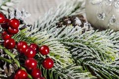 Διακόσμηση Χριστουγέννων στους ξύλινους πίνακες Στοκ Φωτογραφίες