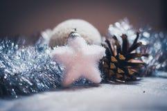 Διακόσμηση Χριστουγέννων στο ασήμι Στοκ Εικόνες