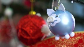 Διακόσμηση Χριστουγέννων στο δέντρο με τα φω'τα Χριστουγέννων Σφαίρα 2019 χοίρων απόθεμα βίντεο