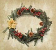 Διακόσμηση Χριστουγέννων στο εκλεκτής ποιότητας υπόβαθρο Στοκ εικόνες με δικαίωμα ελεύθερης χρήσης