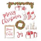 Διακόσμηση Χριστουγέννων συλλογής Στοκ Εικόνα