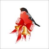 Διακόσμηση Χριστουγέννων, bullfinch με τα κουδούνια χεριών Στοκ Φωτογραφία