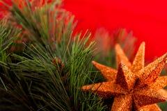 Διακόσμηση χριστουγεννιάτικων δέντρων και αστεριών Στοκ εικόνα με δικαίωμα ελεύθερης χρήσης