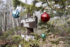 Διακόσμηση χριστουγεννιάτικων δέντρων στο της όξινης απορροής ίχνος στοκ εικόνες