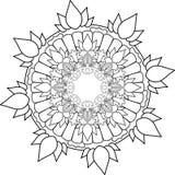 Διακόσμηση Mandala, που επισύρει την προσοχή με το χρωματισμό των γραμμών, στο άσπρο backgrou Στοκ Εικόνες