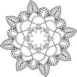 Διακόσμηση Mandala, που επισύρει την προσοχή με το χρωματισμό των γραμμών, στο άσπρο backgrou Στοκ Εικόνα