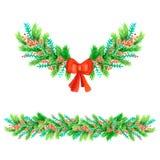 Διακόσμηση Watercolor για το σχέδιό σας Στοιχεία για τη Χαρούμενα Χριστούγεννα και καλή χρονιά ελεύθερη απεικόνιση δικαιώματος
