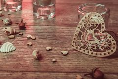 Διακόσμηση Wellness, έννοια SPA σε Valentine& x27 ημέρα του s Στοκ Φωτογραφίες