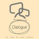 Διαλογικό παράθυρο, συζήτηση ή συνομιλία από το πλαίσιο διαλόγου Στοκ Φωτογραφία