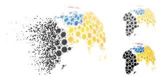 Διαλυμένη ημίτοή αφηρημένη σφαίρα Pixelated με το χρωματισμένο διαστιγμένο εικονίδιο ηπείρων Ελεύθερη απεικόνιση δικαιώματος