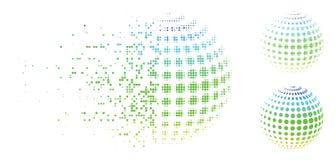 Διαλυμένο εικονίδιο σφαιρών εικονοκυττάρου ημίτονο διαστιγμένο ημίτονο Διανυσματική απεικόνιση