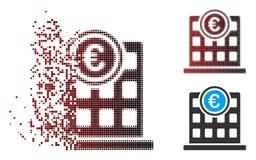 Διαλυμένο εικονοκυττάρου Halftone εικονίδιο Euro Company οικοδόμησης απεικόνιση αποθεμάτων