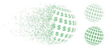 Διαλυμένο Pixelated ημίτονο εικονίδιο σφαιρών δολαρίων αφηρημένο Απεικόνιση αποθεμάτων