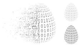 Διαλύοντας εικονίδιο αυγών εικονοκυττάρου ημίτονο δυαδικό ψηφιακό αφηρημένο Ελεύθερη απεικόνιση δικαιώματος