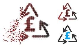 Διαλύοντας εικονίδιο δαπανών λιβρών ανακύκλωσης εικονοκυττάρου ημίτονο απεικόνιση αποθεμάτων