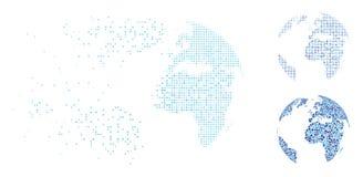 Διαλύοντας εικονίδιο σφαιρών εικονοκυττάρου ημίτονο μπλε διαστιγμένο αφηρημένο Ελεύθερη απεικόνιση δικαιώματος