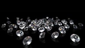 Διαμάντια στη μαύρη ανασκόπηση Στοκ εικόνα με δικαίωμα ελεύθερης χρήσης