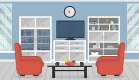 διαμέρισμα σύγχρονο Άνετο εσωτερικό καθιστικών με τα έπιπλα Στοκ φωτογραφίες με δικαίωμα ελεύθερης χρήσης