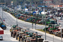 Διαμαρτυμένος αγρότες από τη γεωργική περιοχή του arri Thessaly Στοκ φωτογραφία με δικαίωμα ελεύθερης χρήσης