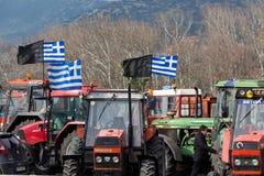 Διαμαρτυμένος αγρότες από τη γεωργική περιοχή του arri Thessaly Στοκ Εικόνες
