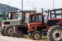 Διαμαρτυμένος αγρότες από τη γεωργική περιοχή του arri Thessaly Στοκ Εικόνα