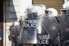 Διαμαρτυρία αντι-αυστηρότητας στις άκρες της Αθήνας με τις δευτερεύουσες διαφωνίες κλίμακας στοκ φωτογραφίες με δικαίωμα ελεύθερης χρήσης