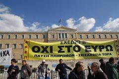 Διαμαρτυρία αντι-αυστηρότητας στις άκρες της Αθήνας με τις δευτερεύουσες διαφωνίες κλίμακας στοκ εικόνες
