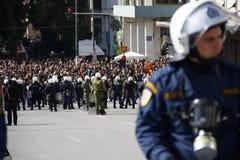 Διαμαρτυρία αντι-αυστηρότητας στις άκρες της Αθήνας με τις δευτερεύουσες διαφωνίες κλίμακας στοκ φωτογραφία με δικαίωμα ελεύθερης χρήσης