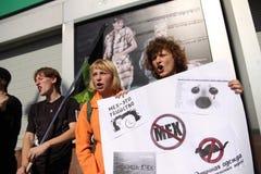 Διαμαρτυρία αντι-γουνών Στοκ εικόνες με δικαίωμα ελεύθερης χρήσης