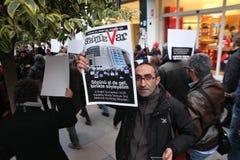 Διαμαρτυρία δημοσιογράφων Στοκ Φωτογραφίες