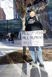 Διαμαρτυρία ενάντια στην απαγόρευση προσφύγων στο Ντάλλας, TX Στοκ φωτογραφία με δικαίωμα ελεύθερης χρήσης