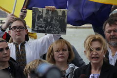 Διαμαρτυρία ενάντια στην εισβολή της Κριμαίας Στοκ Φωτογραφίες