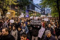 Διαμαρτυρία ενάντια στην εκλογή αρχαιότερου Aleksandar Vucic ως Πρόεδρο, Βελιγράδι στοκ εικόνες