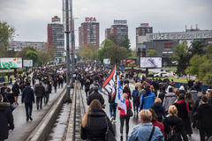 Διαμαρτυρία ενάντια στην εκλογή αρχαιότερου Aleksandar Vucic ως Πρόεδρο, Βελιγράδι στοκ φωτογραφίες με δικαίωμα ελεύθερης χρήσης