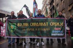 Διαμαρτυρία ενάντια στην εκλογή αρχαιότερου Aleksandar Vucic ως Πρόεδρο, Βελιγράδι στοκ εικόνα