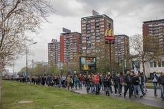 Διαμαρτυρία ενάντια στην εκλογή αρχαιότερου Aleksandar Vucic ως Πρόεδρο, Βελιγράδι στοκ φωτογραφία με δικαίωμα ελεύθερης χρήσης