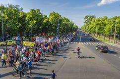 Διαμαρτυρία στο Βουκουρέστι ενάντια στην παράνομη αναγραφή στοκ εικόνα με δικαίωμα ελεύθερης χρήσης