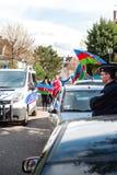 Διαμαρτυρία σύγκρουσης του Αζερμπαϊτζάν Αρμενία μπροστά από την πρεσβεία Στοκ Εικόνες