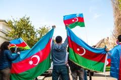 Διαμαρτυρία σύγκρουσης του Αζερμπαϊτζάν Αρμενία μπροστά από την πρεσβεία Στοκ Φωτογραφίες