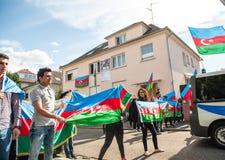 Διαμαρτυρία σύγκρουσης του Αζερμπαϊτζάν Αρμενία μπροστά από την πρεσβεία Στοκ εικόνες με δικαίωμα ελεύθερης χρήσης