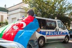 Διαμαρτυρία σύγκρουσης του Αζερμπαϊτζάν Αρμενία μπροστά από την πρεσβεία Στοκ φωτογραφία με δικαίωμα ελεύθερης χρήσης