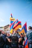 Διαμαρτυρία σύγκρουσης του Αζερμπαϊτζάν Αρμενία Στοκ Εικόνες