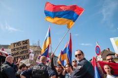 Διαμαρτυρία σύγκρουσης του Αζερμπαϊτζάν Αρμενία Στοκ εικόνες με δικαίωμα ελεύθερης χρήσης