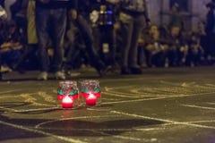 Διαμαρτυρίες ενάντια στη χρυσή εξαγωγή κυανιδίου σε Rosia Μοντάνα στοκ φωτογραφία