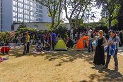 Διαμαρτυρίες και γεγονότα πάρκων Gezi Taksim Φύλαξη πάρκων Gezi Taksim Στοκ Εικόνα