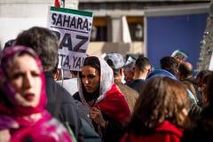 Διαμαρτυρίες Σαχάρας στη Μαδρίτη στοκ φωτογραφία με δικαίωμα ελεύθερης χρήσης