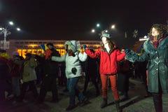 24 01 2018-διαμαρτυρίες στη Ρουμανία Στοκ Φωτογραφίες