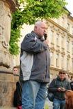 Διαμαρτυρόμενος που μιλά στην επίδειξη Στοκ Φωτογραφία