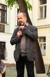 Διαμαρτυρόμενος που μιλά στην επίδειξη Στοκ Εικόνα
